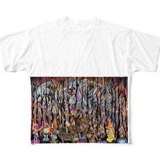 暗いイラスト Full graphic T-shirts