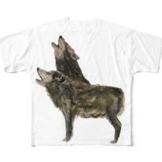 オオカミ Full graphic T-shirts