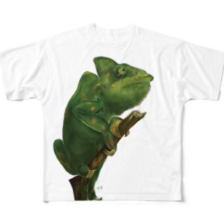 カメレオンのイラスト Full graphic T-shirts
