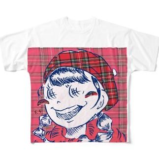 チェックの女の子 Full Graphic T-Shirt