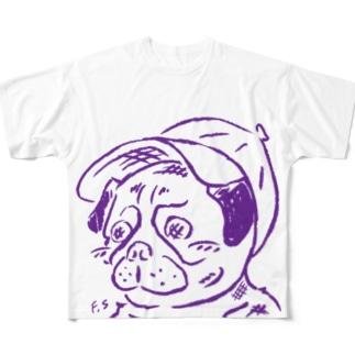 スマホdeイラストレーター・古川 セイのキャップを被ったパグ Full graphic T-shirts