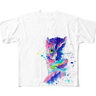 フクロウ_owl.1_watercolor Full graphic T-shirts