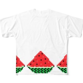 ドッド絵 スイカ3連 Full graphic T-shirts