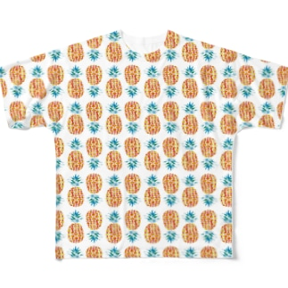 夏パイナップルいっぱい! Full graphic T-shirts