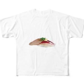 寿司 鯵 Full graphic T-shirts
