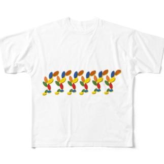 カラフルリーフ一列 Full graphic T-shirts