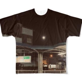 蛍池バスターミナルの満月 Full graphic T-shirts