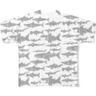 サメいっぱい Full graphic T-shirts