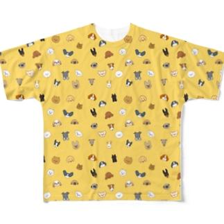 ワンコがいっぱいイエロー(小型犬) Full graphic T-shirts