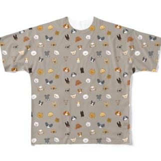 ワンコがいっぱいグレー(小型犬) Full graphic T-shirts