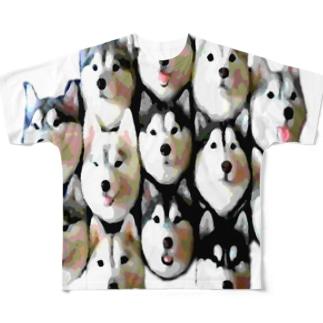 ハスキー13面相 Full graphic T-shirts