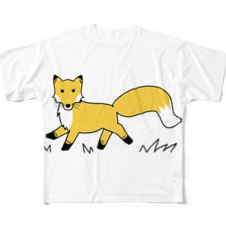 Mナオキのキタキツネ Full graphic T-shirts