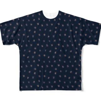 将棋駒タイポグラフィ Full graphic T-shirts