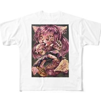 ひめさまにゃんこの野良でびゅ〜 Full graphic T-shirts