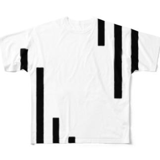 右肩下がり Full graphic T-shirts