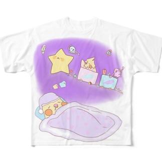 ぴよ助のお店のおやすみオカメインコさん Full graphic T-shirts