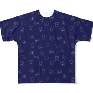 ワンコがいっぱいネイビー(小型犬) Full graphic T-shirts