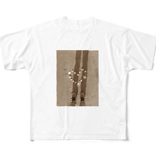 貝殻ハート(セピア) Full graphic T-shirts