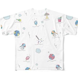 ぷくぷくぱすてる部屋着(白色) Full graphic T-shirts