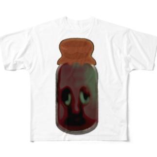 液体コーヒー男(びん) Full graphic T-shirts