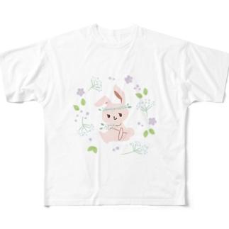 うさぎとカスミソウ Full Graphic T-Shirt