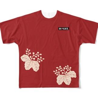 木瓜桐文緋羅紗陣羽織柄 フルグラフィックTシャツ Full graphic T-shirts