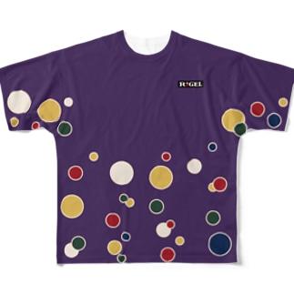 紫羅背板地五色水玉模様陣羽織柄 フルグラフィックTシャツ Full graphic T-shirts