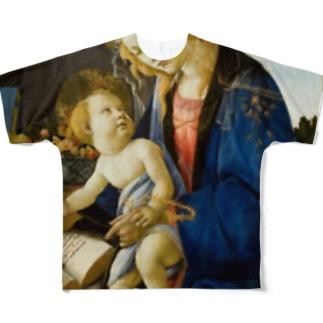 サンドロ・ボッティチェッリ 「聖母子 (書物の聖母) Full graphic T-shirts