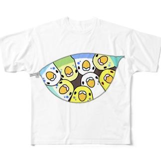 三密です!むちむちセキセイインコさん【まめるりはことり】 Full graphic T-shirts