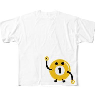 ビリヤードのビリちゃん Full graphic T-shirts