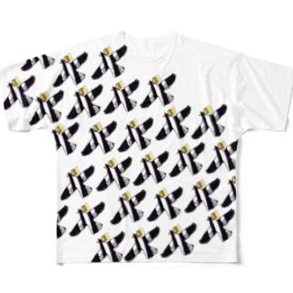 白塗りカラス飛ぶ柄 Full graphic T-shirts