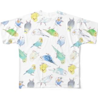 めっちゃセキセイインコちゃん【まめるりはことり】 Full graphic T-shirts