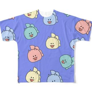 とりきちがいっぱい(ぱーぷる) Full graphic T-shirts