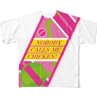 誰にもチキンなんて言わせない!(Nobody calls me chicken!) Full graphic T-shirts