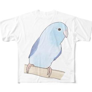 おしゃまなマメルリハのるりちゃん【まめるりはことり】 Full graphic T-shirts