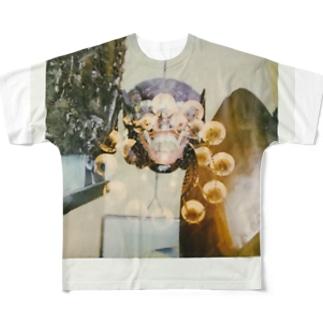 異国の仮面 多重露光シャンデリア Full graphic T-shirts