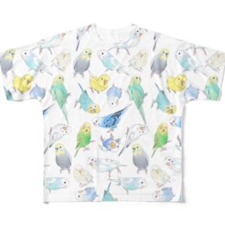 たくさんセキセイインコちゃん【まめるりはことり】 Full graphic T-shirts