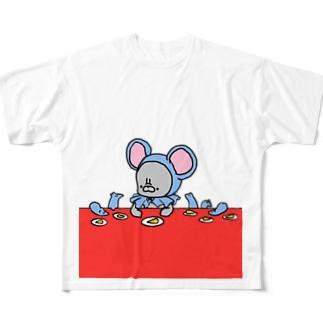 くろちゃんとねずみーず Full graphic T-shirts
