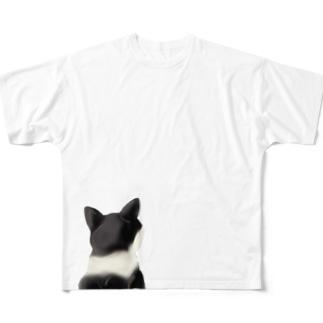 鉢割れ猫のシルエット Full graphic T-shirts