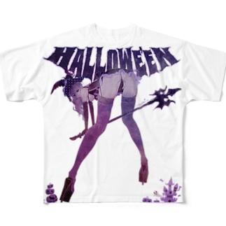 HALLOWE'EN WITCH 彼女はウィッチ パープル Full graphic T-shirts