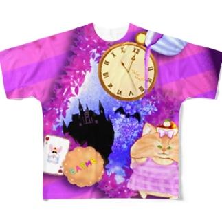 《ハロウィン》04*チェシャきじとら猫*紫背景ver. Full graphic T-shirts