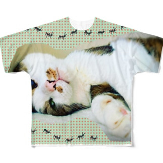 老猫にゃあ Full graphic T-shirts