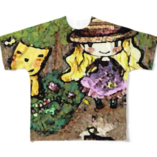 mecanbaco.『森とネコと少女』 Full graphic T-shirts