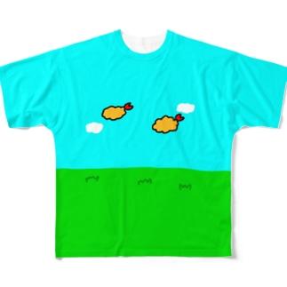 フライングエビフライ Full graphic T-shirts