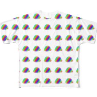 レインボーおじいさんがいっぱい Full graphic T-shirts