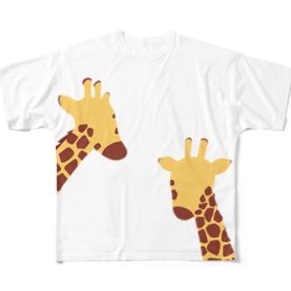 2頭のきりん Full graphic T-shirts