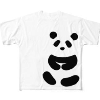 座るジャイアントパンダ Full graphic T-shirts