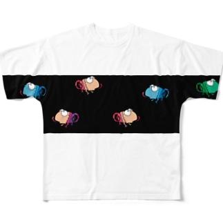 カメレオンワラワラ 黒ボーダー Full graphic T-shirts