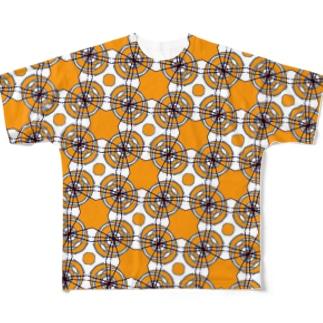 包み紙オレンジ灰 Full graphic T-shirts