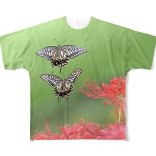 カフェ曼珠沙華 アゲハチョウ Full graphic T-shirts